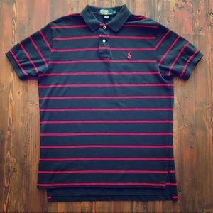 Ralph Lauren Navy & Red Striped Classic Polo (L)